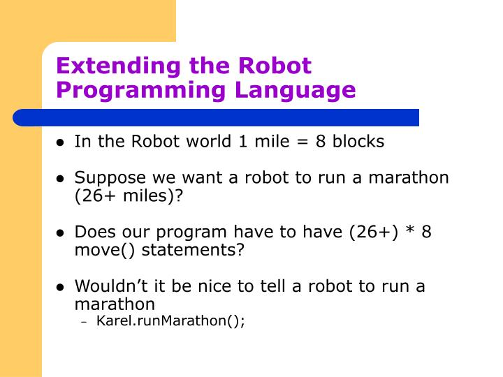 Extending the robot programming language