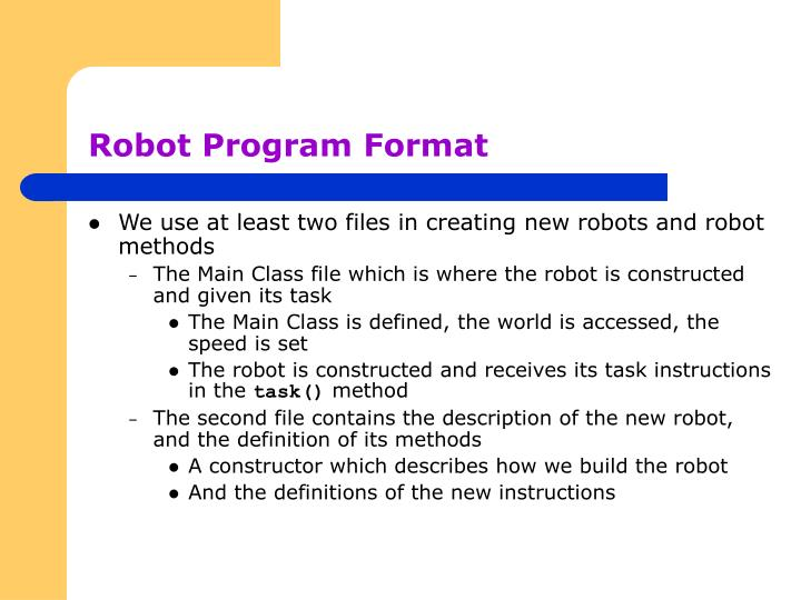 Robot Program Format