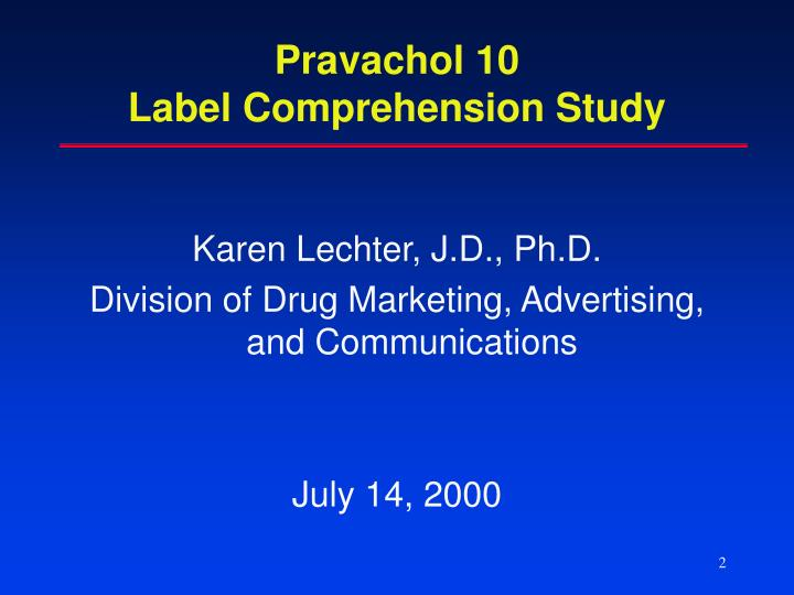 Pravachol 10 label comprehension study