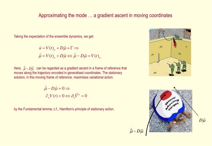 Approximating the mode … a gradient ascent in moving coordinates