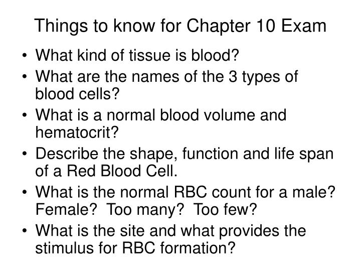Things to know for chapter 10 exam