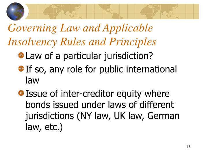 Governing Law and Applicable Insolvency Rules and Principles