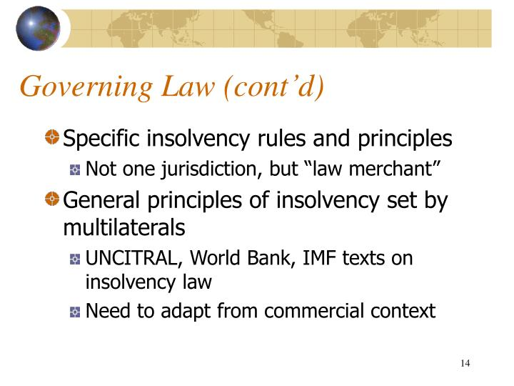 Governing Law (cont'd)