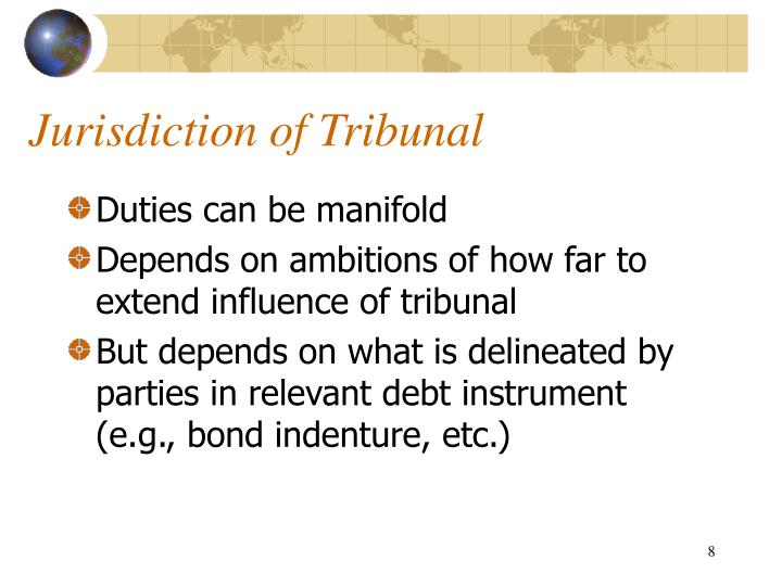 Jurisdiction of Tribunal