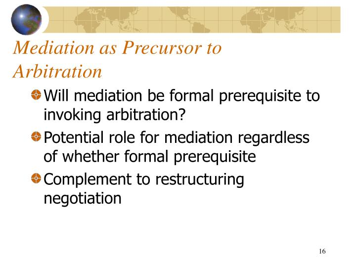 Mediation as Precursor to Arbitration
