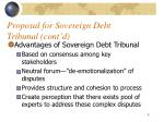 proposal for sovereign debt tribunal cont d
