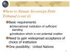 where to situate sovereign debt tribunal cont d