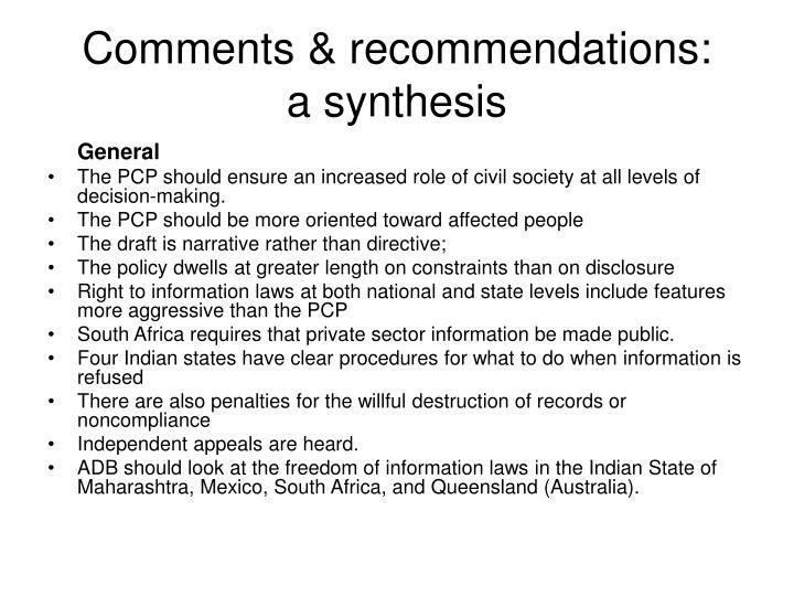 Comments & recommendations: