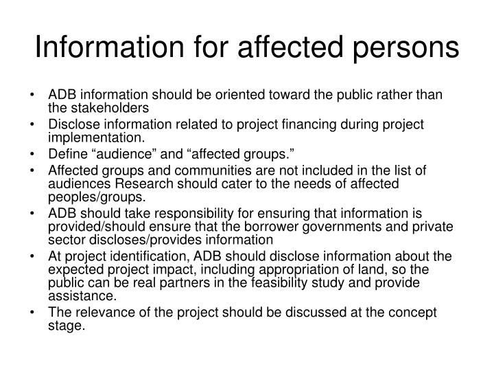 Information for affected persons