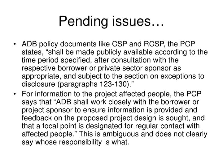 Pending issues…