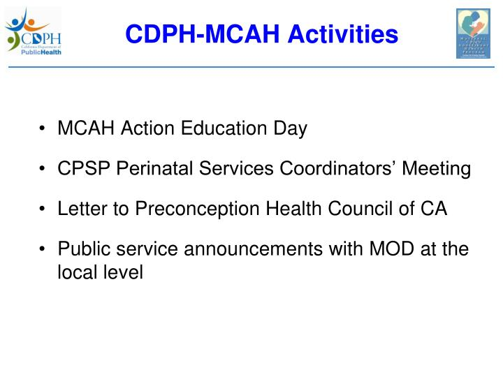 CDPH-MCAH Activities
