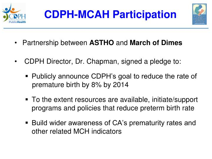 CDPH-MCAH Participation