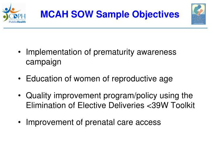 MCAH SOW Sample Objectives