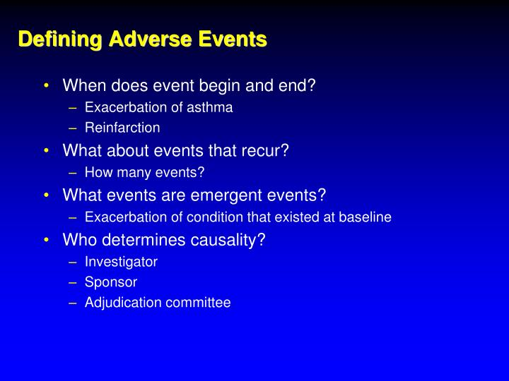 Defining Adverse Events