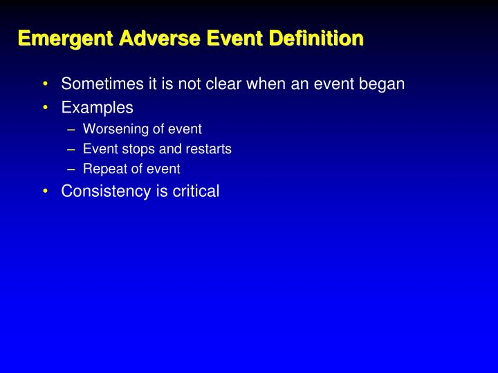 Emergent Adverse Event Definition