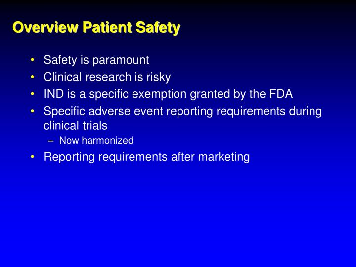 Overview patient safety