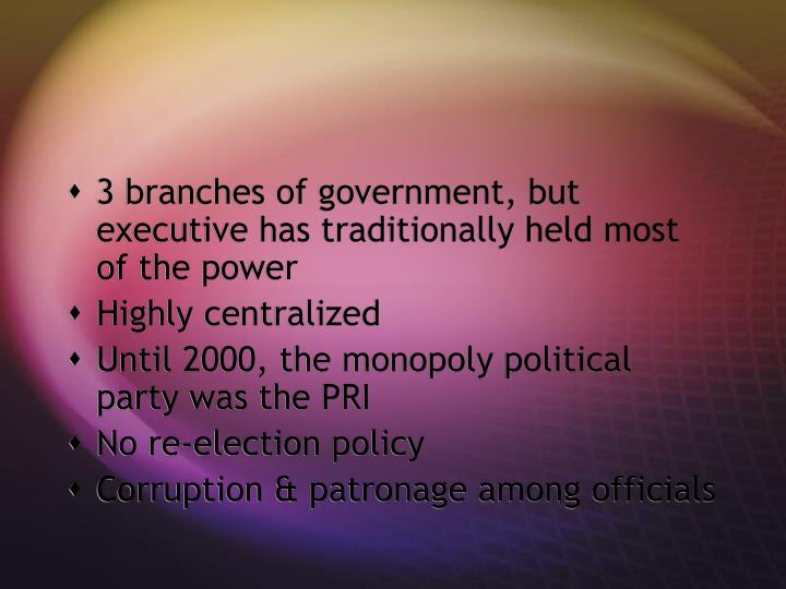 3 branches of government, but executive has traditionally held most of the power