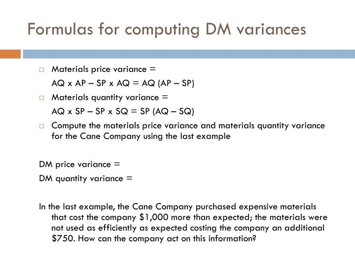 Formulas for computing DM variances