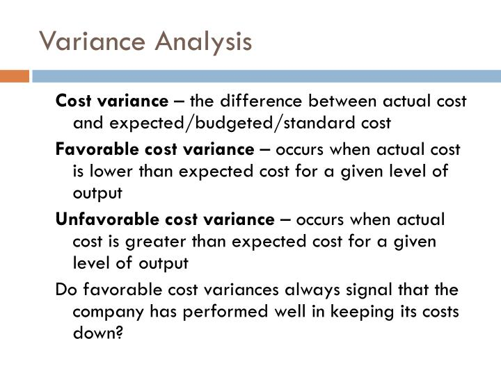 Variance Analysis