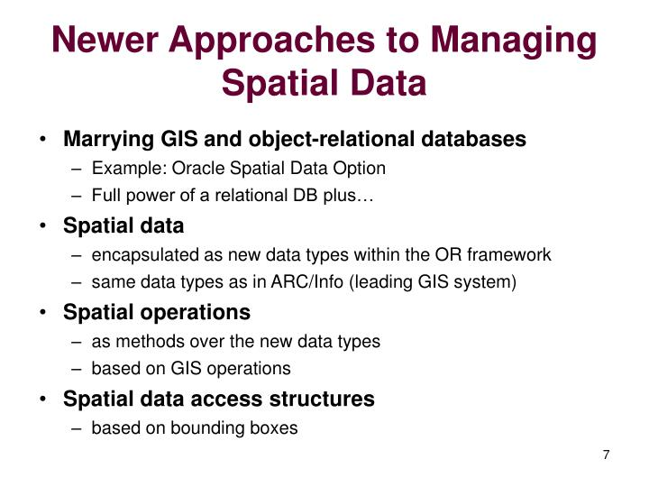 Newer Approaches to Managing Spatial Data