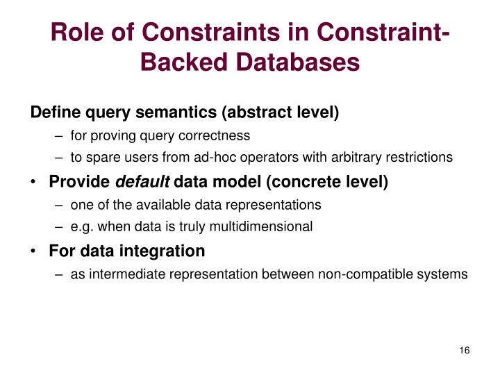 Role of Constraints in Constraint-Backed Databases