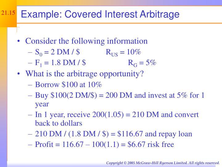 Example: Covered Interest Arbitrage