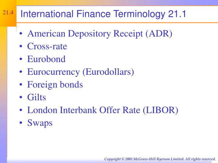International Finance Terminology 21.1