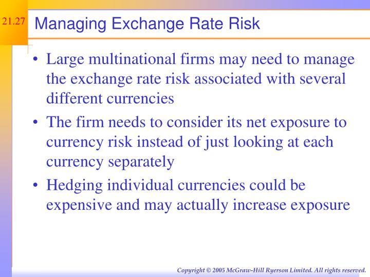 Managing Exchange Rate Risk