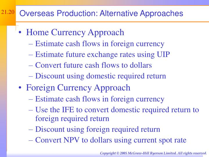 Overseas Production: Alternative Approaches