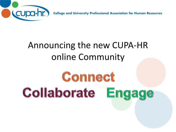 Announcing the new CUPA-HR online Community