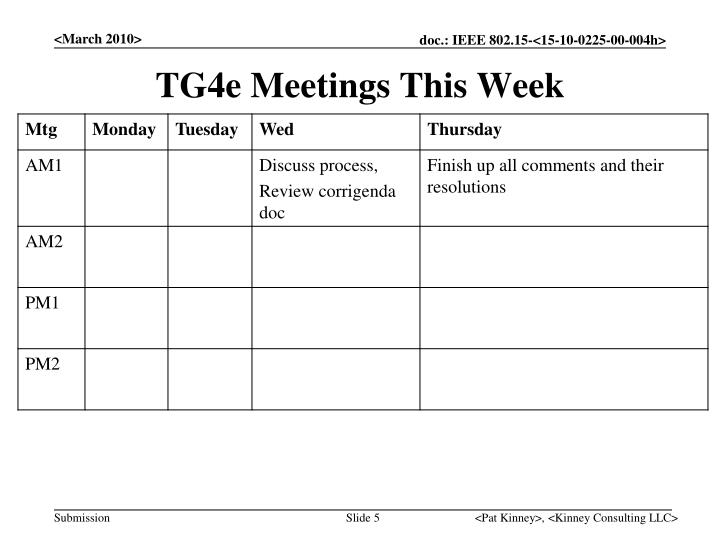 TG4e Meetings This Week