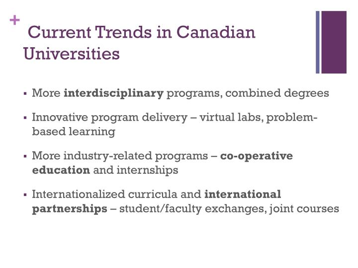 Current Trends in Canadian Universities