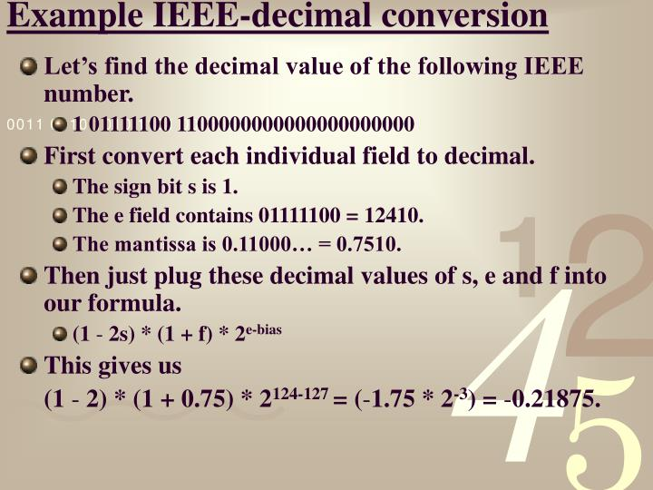 Example IEEE-decimal conversion