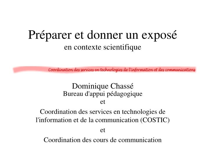 Pr parer et donner un expos en contexte scientifique