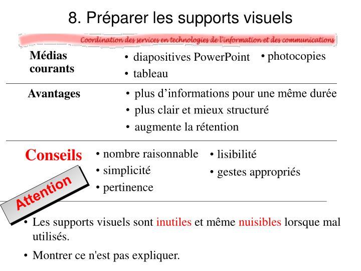 8. Préparer les supports visuels