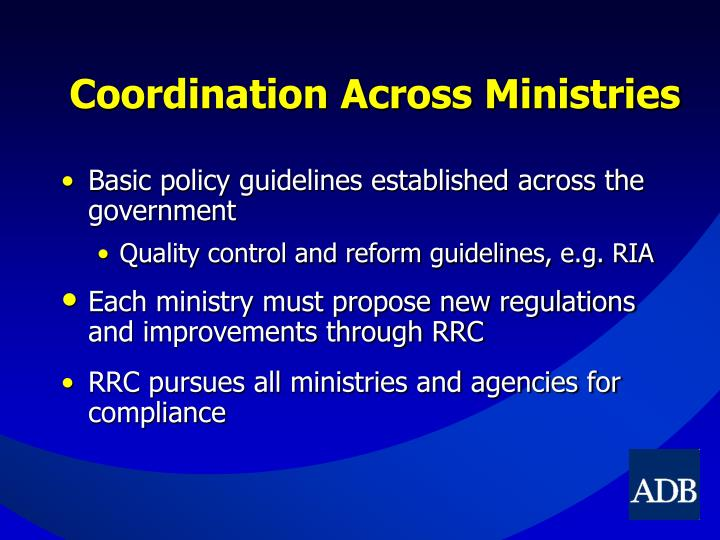 Coordination Across Ministries