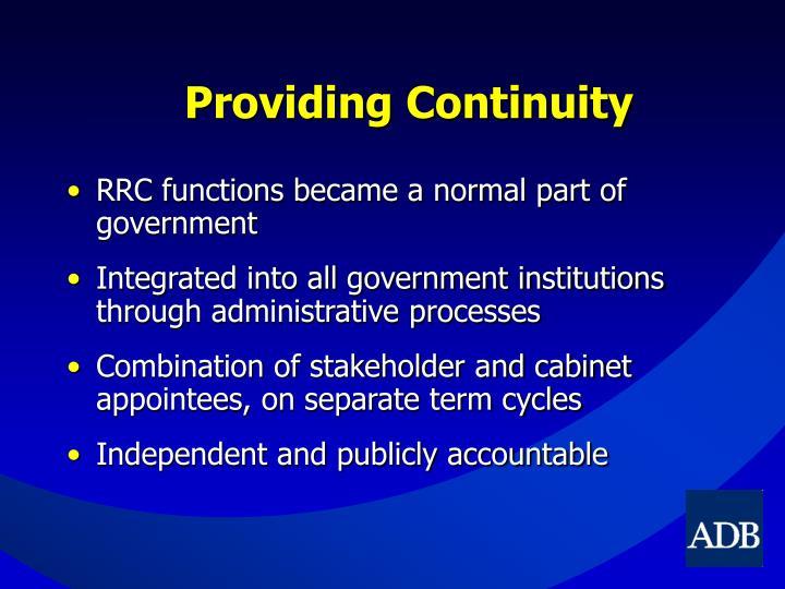 Providing Continuity