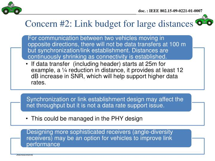 Concern #2: Link budget for large distances