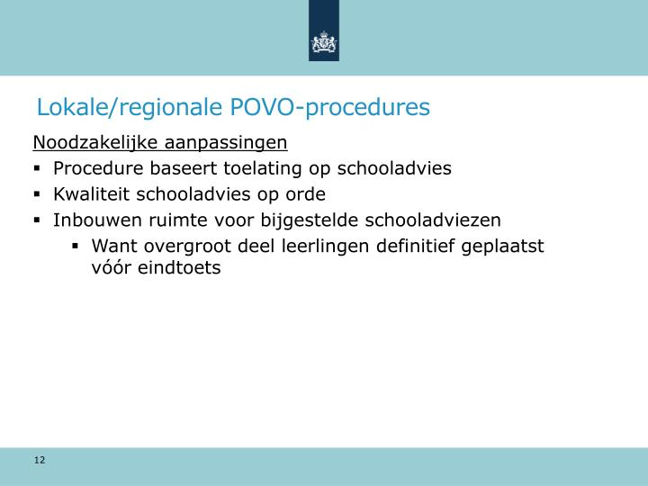 Lokale/regionale POVO-procedures