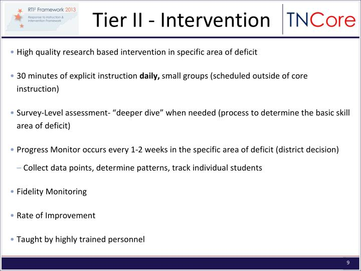 Tier II - Intervention