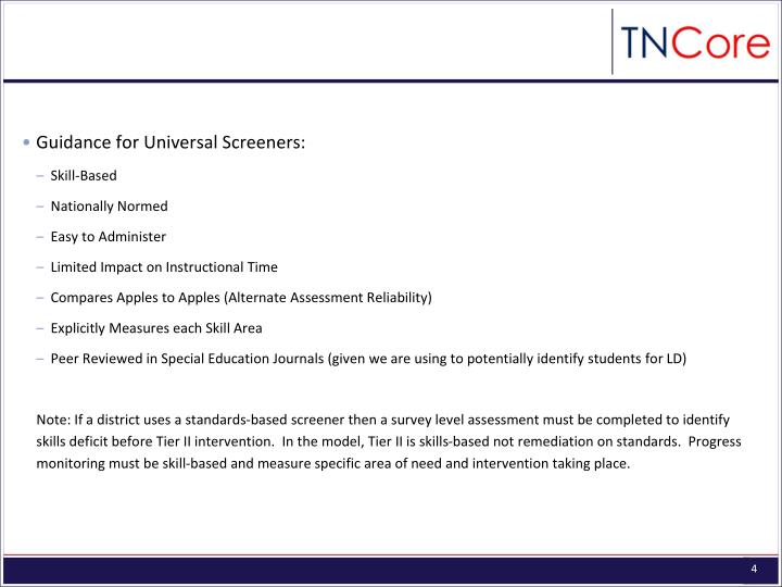 Guidance for Universal Screeners: