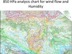 850 hpa analysis chart for wind flow and humidity