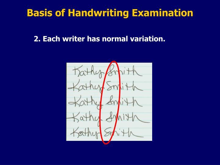 Basis of Handwriting Examination