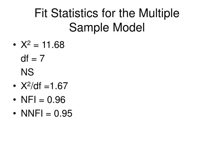 Fit Statistics for the Multiple Sample Model