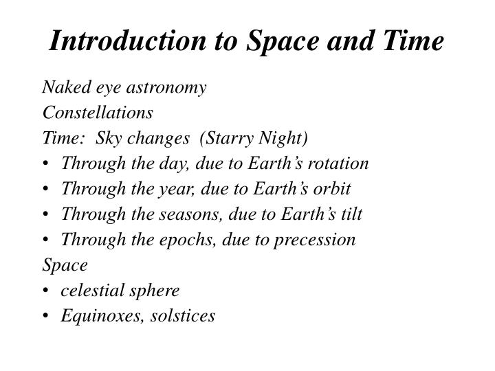 Introduction to Space and Time