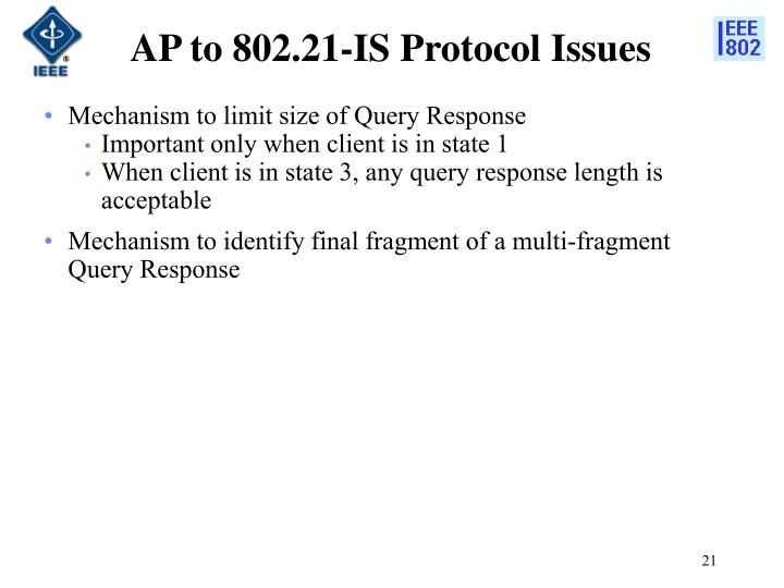 AP to 802.21-IS Protocol Issues