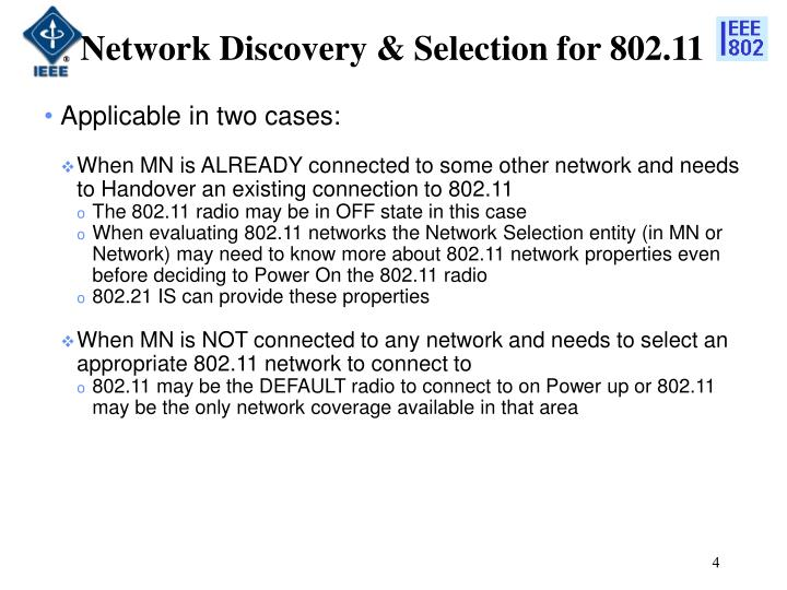 Network Discovery & Selection for 802.11