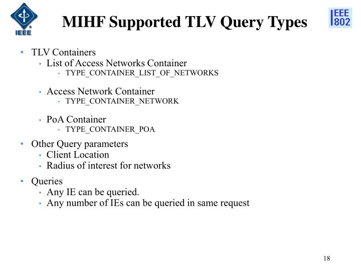 MIHF Supported TLV Query Types