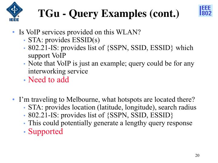 TGu - Query Examples (cont.)
