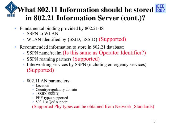 What 802.11 Information should be stored